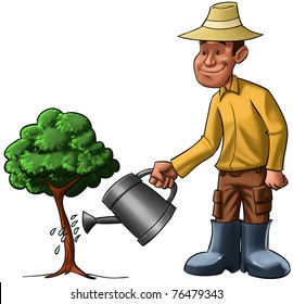 farmer sprinkling a young tree, he is very happy