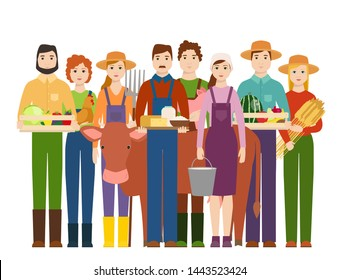 Farmer workers people character agriculture person profession farming life illustration.