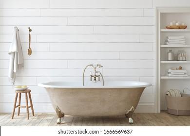 Farmhouse bathroom with shiplap wall . Interior mockup. 3d render.