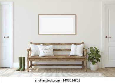 Farmhouse entryway. Wooden bench beige wall. Frame mockup. Wooden frame on the wall. 3d render.