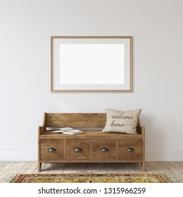 Farmhouse entryway. Wooden bench near white wall. Frame mockup. Wooden frame on the wall. 3d render.