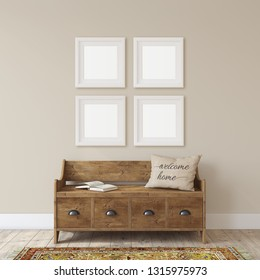 Farmhouse entryway. Wooden bench near white wall. Frame mockup. Four white square frames on the wall. 3d render.