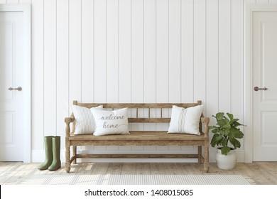 Entrada de granjas. Banco de madera cerca de la pared de escopeta blanca. Burla interior. 3d de representación.