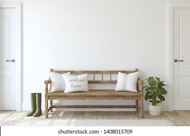 Entrada de granjas. Banco de madera cerca de una pared blanca. Burla interior. 3d de representación.
