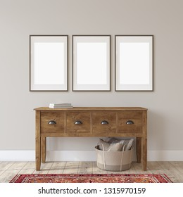 Farmhouse entryway. Wooden console table near gray  wall. Frame mockup. Three black frames on the wall. 3d render.