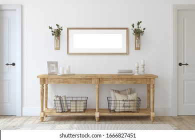 Farmhouse entryway. Wooden console table near white  wall. Frame mockup. 3d render.