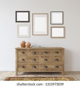 Farmhouse entryway. Wooden dresser near white wall. Frame mockup. Several different frames on the wall. 3d render.