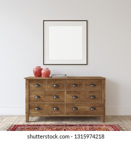 Farmhouse entryway. Wooden dresser near white wall. Frame mockup. Black square frame on the wall. 3d render.