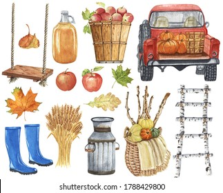 Farmhouse Fall Decor Watercolor Clipart. Cozy Autumn Illustrations. Harvest Truck with Pumpkin. Fall Leaves, Rustic Wooden Home Decor.
