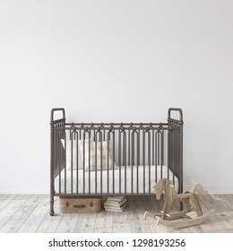 Farmhouse nursery. Black metal crib near empty white wall. Interior mock-up. 3d rendering.