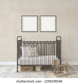 Farmhouse nursery. Black metal crib near white wall. Two black frames on the wall. Interior and frame mockup. 3d rendering.