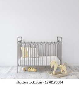 Farmhouse nursery. Gray metal crib near empty white wall. Interior mock-up. 3d rendering.