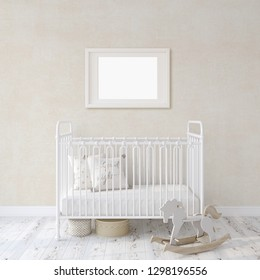 Farmhouse nursery. White metal crib near white wall. Landscape white frame on the wall. Interior and frame mockup. 3d rendering.