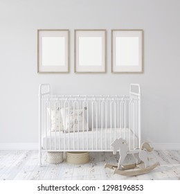 Farmhouse nursery. White metal crib near white wall. Three wooden frames on the wall. Interior and frame mockup. 3d rendering.