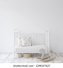 Farmhouse nursery. White metal crib near empty white wall. Interior mock-up. 3d rendering.
