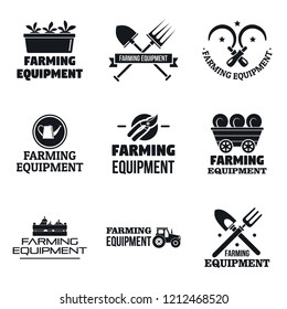 Farming garden equipment logo set. Simple set of farming garden equipment logo for web design on white background