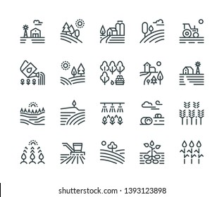 Farming landscape line icons. Rural houses, planting vegetables and wheat fields, cultivated crops. Agriculture pictograms
