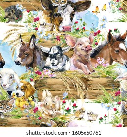 farms animal seamless pattern. Cute domestic pets watercolor illustration. foal, piggy, chicken, dog, duckling, sheep, goat, calf, donkey, kitten,