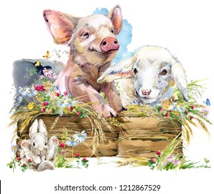 farms animal set. Cute domestic pets watercolor illustration. lamb. cute pig. chiken. rabbit.