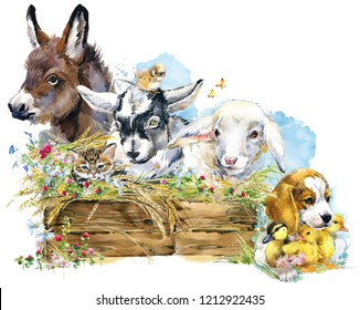 farms animal set. Cute domestic pets watercolor illustration. lamb. donkey. chiken. goat. puppy dog. duckling.