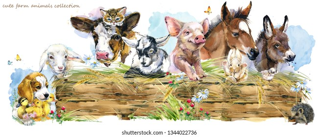 farms animal set. Cute domestic pets watercolor illustration. foal, piggy, chicken, dog, duckling, sheep, goat, calf, donkey, kitten,