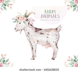 farms animal set. Cute domestic pets watercolor illustration. horse and goose. pig design with goat. rooster chicken and sheep, cow