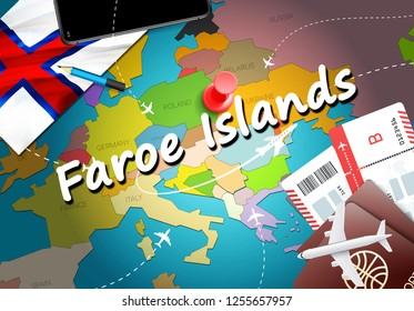 Faroe Islands travel concept map background with planes, tickets. Visit Faroe Islands travel and tourism destination concept. Faroe Islands flag on map. Planes and flights to Torshavn holidays