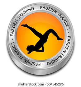 Fascia Training button - in german - 3D illustration