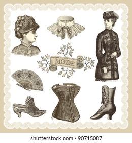 "Fashion 19th siècle - - vintage engraved illustration - ""La mode illustrée"" by Firmin-Didot et Cie in 1882 France"
