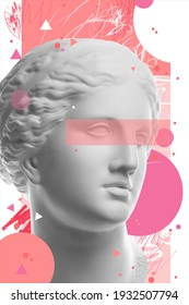 Fashion art collage with plaster antique sculpture of Venus face in a pop art style. Creative vogue concept image in contemporary surrealism style. Beauty, fashion and health theme. Zine culture.