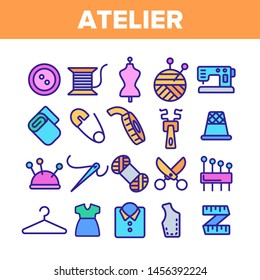 Fashion Atelier And Sewing Linear Icons Set. Atelier, Tailor Shop Thin Line Contour Symbols Pack. Needlework, Dressmaking Studio Pictograms Collection. Stitching Equipment Outline Illustrations