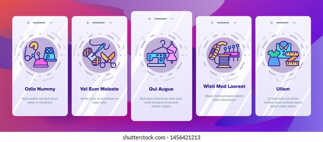 Fashion Atelier And Sewing Onboarding Mobile App Page Screen. Atelier, Tailor Shop. Needlework, Dressmaking Studio Stitching Equipment Outline Illustration