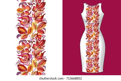 Fashion background. Women's dress mock up with seamless hand drawn pattern for textile, paper print. Isolated watercolor floral illustration. Ukrainian decorative ornament, petrikov painting
