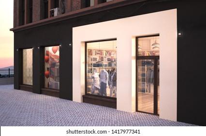 fashion boutique storefront mockup 3d rendering