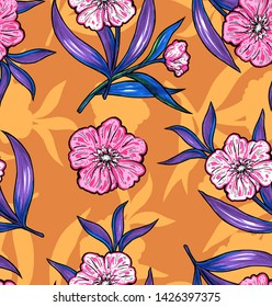 Fashion bright abstrakt floral pattern with pink flowers and orange background.
