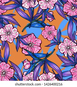 Fashion bright abstrakt floral pattern with pink flowers blue and orange background.