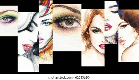 Fashion collage. Beautiful woman face. Fashion illustration. Watercolor painting