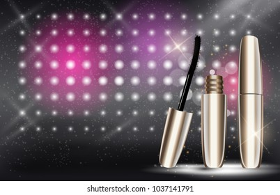 Fashion Design Makeup Cosmetics Product  Template for Ads or Magazine Background.  Mascara Product Series Reportv 3D Realistic  Iillustration.