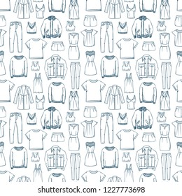 Fashion doodles pattern. Clothes sketch. Apparel. Outfit. Woman fashion background. Fabric design. Casual style. Denim. Jeans wear. Dress. Coat. Jacket. Leggins. Sweater. T-shirt.