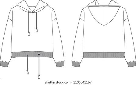 Fashion flat drawing of hooded sweatshirt
