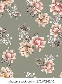Fashion Flowers seamless pattern composed by peony vintage and cherry flowers with antique leaves on military color background.