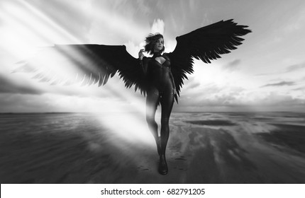 fashion futuristic - black wings and woman - 3d rendering