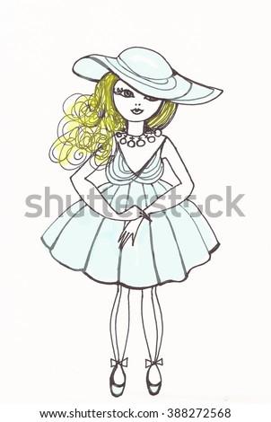Fashion Girl Pencil Drawing Blonde Girl Stock Illustration Royalty