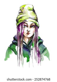 Fashion girl with pink hairs and  bright green hat . Raster illustration. Hand drawn by watercolor and ink