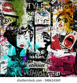 Fashion girl in sketch-style. Grunge illustration.