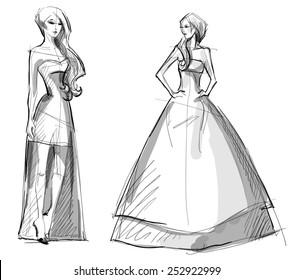Fashion hand drawn illustration. sketch. Long dress.
