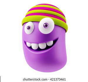Fashion Hat Emoticon Face. 3d Rendering.