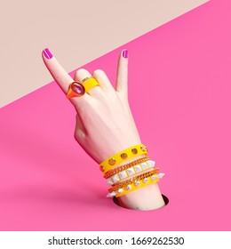 Fashion hipster accessories, Party concept, Rock hand sign, bad girl pink background, creative art protest banner,  3d rendering
