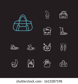 Fashion icons set. Ballet shoes and fashion icons with half moon bag, mary janes and high converse shoes. Set of pair for web app logo UI design.