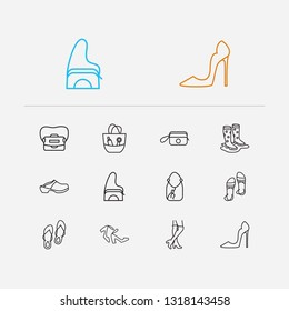 Fashion icons set. Knee high boots and fashion icons with hobo, gumboots and wristlet bag. Set of baggage for web app logo UI design.